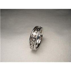 18K WG Gold Swirl Diamond Wedding Eternity Band#2391226