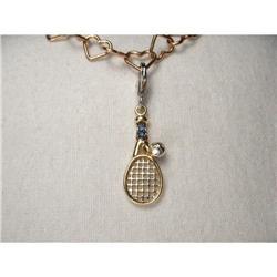 14K YG Sapphire Diamond Tennis Racquet Charm #2391229