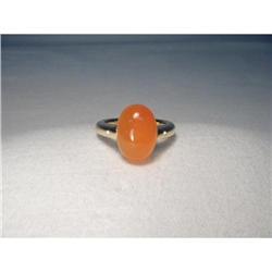 14K YG Gold Cabochon Carnelian Diamond Ring #2391233