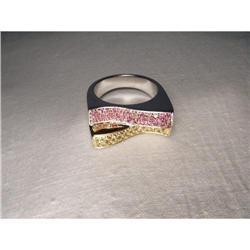 Estate 18K WG Gold Pink Yellow Sapphire Ring #2391234