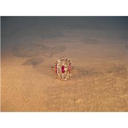 Antique Estate 14K WG Gold Ruby Diamond Ring #2391235