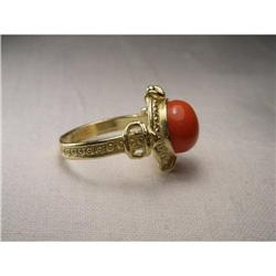 Antique 18K YG Gold Handmade Red Coral Ring #2391236