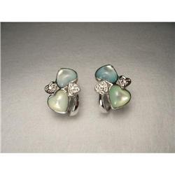 14K WG Diamond Green Blue Pearl Heart Earrings #2391238
