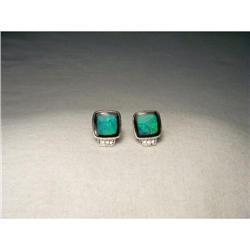 Estate 14K WG Opal Onyx Inlaid Diamond Earrings#2391239
