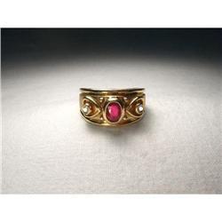 Etruscan 14K YG Gold Ruby Diamond Heart Band #2391240