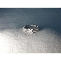 18K White Gold WG Diamond X Mesh Band Ring #2391241
