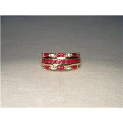 14K YG Gold Ruby Diamond Wedding Band Ring #2391242