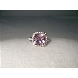 Estate 14K WG MicroPave Diamond Amethyst Ring #2391243