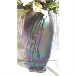 Iridescent art glass vase by Bruce Fruend #2391252
