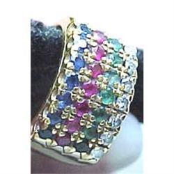Ladies multi gem stone wide gold band #2391255