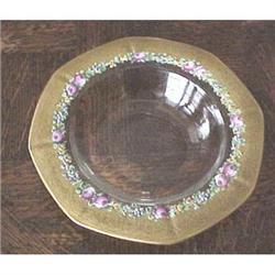 Gold rimmed & enamel flower dessert set #2391260