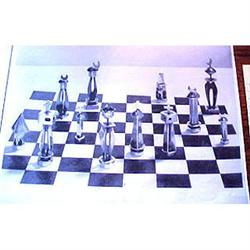 Copper & pewter chess set with a religious #2391264