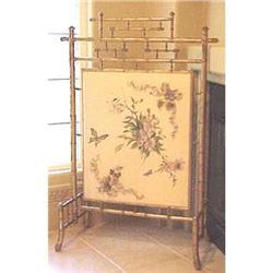Gold bamboo firescreen  painted silk center #2391266