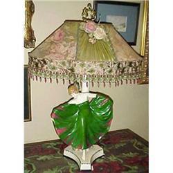 Pottery dancer lamp custom beaded shade #2391267