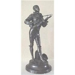 bronze bronze statue of a strolling minstral #2391271