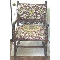 English  carved oak needlepoint arm chair #2391274