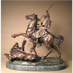 CLASSIC BRONZE THE HUNT OF THE LION SCULPTURE #2391296
