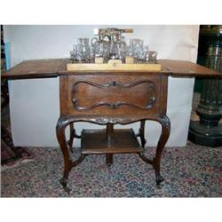 Antique Mechanical Wood Cabinet Bar Cut Glass #2391311