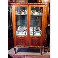 Antique China Cabinet Walnut Bronze Mounts #2391313