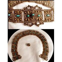antique Gilt Turquoise STUNNING BELT & RING #2391317