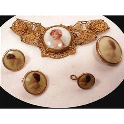 Antique porcelain FRENCH PORTRAIT bracelet set #2391318