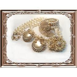 Vintage Dimple Glass Haskell necklace bracelet #2391323
