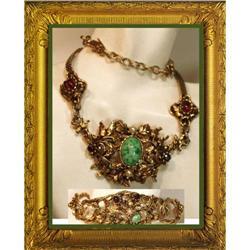 Vintage Edwardian GARNET necklace & bracelet #2391324