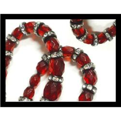 Deco FACET Cherry amber Necklace Czech SIGNED #2391326