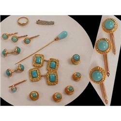 15 pc persian TURQUOISE Victorian Cufflink set #2391332