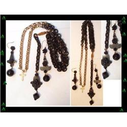Victorian Gutta percha DROP earrings necklace #2391334