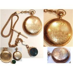 1898 ELGIN 10kt rose gold Pocketwatch & FOb #2391340