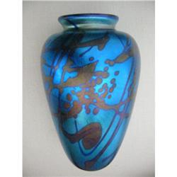 Iridescent Blown Glass Flower vase w signature!#2391345