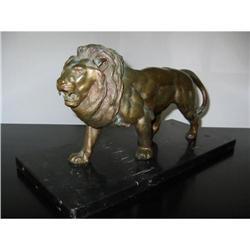 Bronze Lion Sculpture on black Marble mkd! #2391349