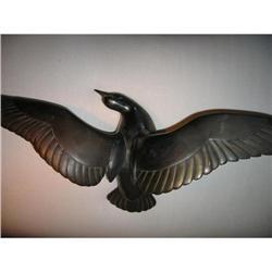 Vintage Sculpture of Metal bird of bronze #2391350
