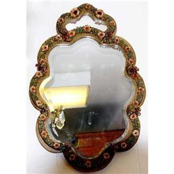 1890s Dresden mirror with 3 dimensional Floral #2391370