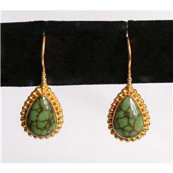 Estate Turquoise 18K Gold drop earrings #2391371