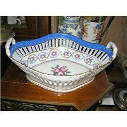 """""""Sevres"""" Porcelain Reticulated Basket #2391381"""