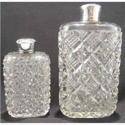 Unger Bros. Pair of Crystal & Sterling Flasks #2391400