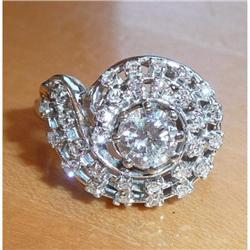 14K White Gold Diamond Cluster Right Hand Ring#2391428