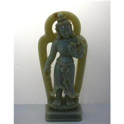 Vintage Dancing Buddha Jade Stone Statue #2391459