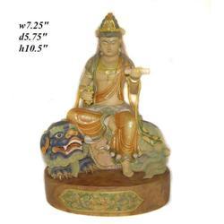 Sandal Wood Manjushiri With Fu-Dog Statue  #2391460