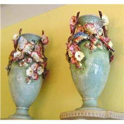 Pair of Continental Majolica Vases #2391487