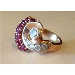 14K  Gold Swirl Ring With Diamonds & Rubies #2391496