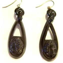 Pair of  Antique Whitby Jet Cameo  Earrings #2391497
