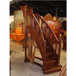 Antique French Gothic Style Curved Staircase #2391523