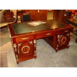 Mahogany Ormolu Partners Desk with Black #2391527