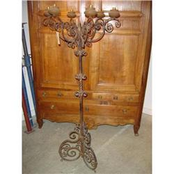 Antique French, Six-Arm, Iron Floor Candelabra #2391528
