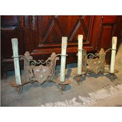 Pair of Iron Shield Sconces-Parcel Verdegres #2391530