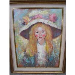 Signed Homer Girl Painting #2391533