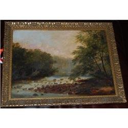 Antique Oil on Canvas Landscape Painting 1811 #2381540